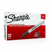 SHARPIE PERMANENT MARKER FINE TIP BLACK BOX 12