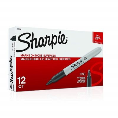 SHARPIE PERMANENT MARKER FINE TIP BLACK BOX 12
