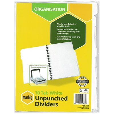 MARBIG INDICE CARDBOARD UNPUNCHED A4 10 TAB WHITE