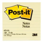 3M POST IT NOTES 675 98X98MM LINED YELLOW