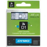 DYMO D1 12MM 45020 WHITE ON CLEAR LABEL TAPE