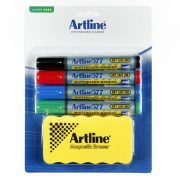 ARTLINE 577 WHITEBOARD STARTER KIT MARKERS & MAGNETIC ERASER ASSORTED