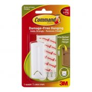 3M COMMAND HOOKS 17041 WIRE BACKED WHITE 1PK