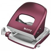 LEITZ STYLE METAL 2 HOLE PUNCH GARNET RED