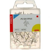 ESSELTE PUSH PINS CLEAR PK50