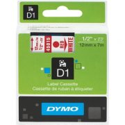 DYMO D1 12MM 45015 RED ON WHITE LABEL TAPE