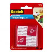 SCOTCH FOAM MOUNTING SQUARES 108 25.4X25.4MM REMOVABLE