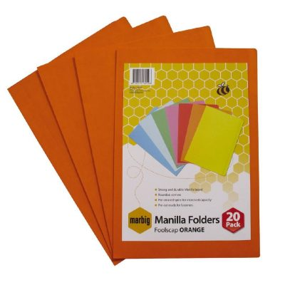 MARBIG MANILLA FOLDER F/C ORANGE PK 20