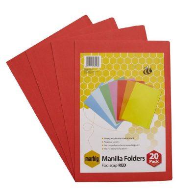 MARBIG MANILLA FOLDER F/C RED PK 20