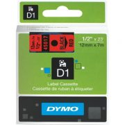 DYMO D1 12MM 45017 BLACK ON RED LABEL TAPE