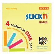 STICK N NOTES MAGIC PAD PASTEL 76X76MM 100 SHEETS 4 COLOURS