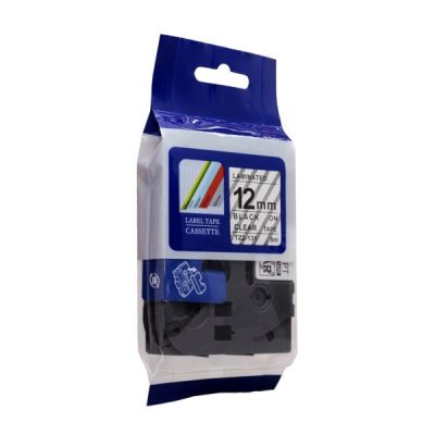 ICON COMPATIBLE BROTHER P-TOUCH 12MM TZE-131 BLACK ON CLEAR LABEL TAPE
