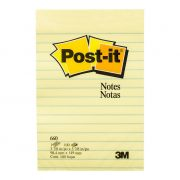 3M POST IT NOTES 660 98X149MM LINED YELLOW