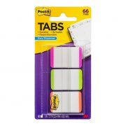 3M POST IT DURABLE TABS 686 25X38MM ASSORTED BRIGHTS 66PK