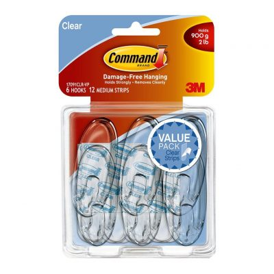 3M COMMAND HOOKS 17031 MEDIUM CLEAR 6PK