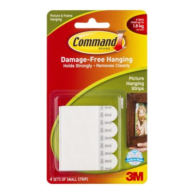3M COMMAND PICTURE HANGING STRIPS 17202 SMALL WHITE 4PK