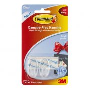 3M COMMAND HOOKS 17092 SMALL CLEAR 2PK