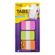 3M POST IT DURABLE TABS 686 25X38MM ASSORTED BRIGHTS 36PK