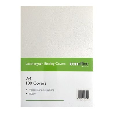 ICON BINDING COVERS TEXTURED 250GSM A4 WHITE 100PK