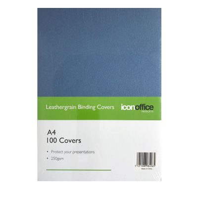 ICON BINDING COVERS TEXTURED 250GSM A4 NAVY BLUE 100PK