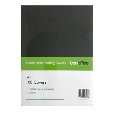 ICON BINDING COVERS TEXTURED 250GSM A4 BLACK 100PK