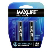 MAXLIFE RECHARGEABLE BATTERY AA 2PK