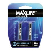 MAXLIFE RECHARGEABLE BATTERY AAA 2PK